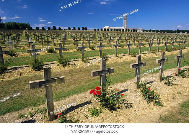 France, Meuse (55), Verdun, Douaumont ossuary, alignment of WWI soldiers tombs