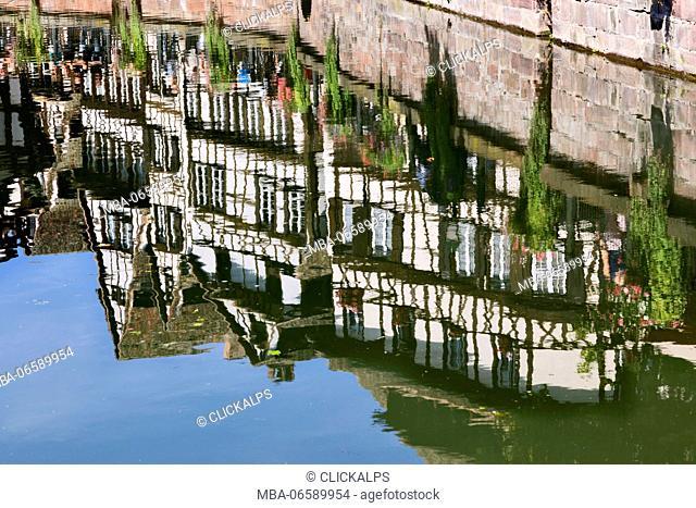 Strasbourg, Alsace, France, Typical reflected alsatian houses