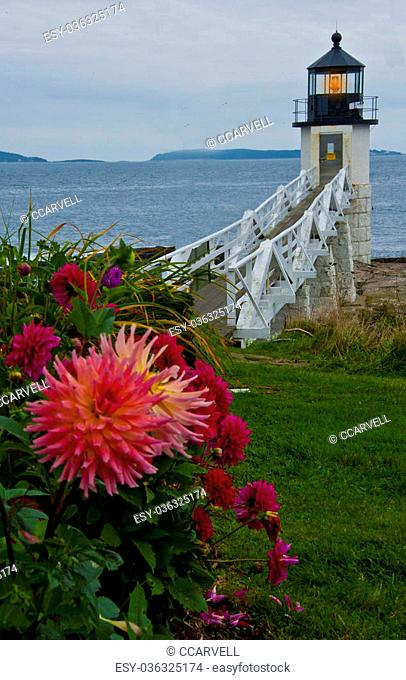 Marshall Point Lighthouse with a large red dahlia looming big in the foreground