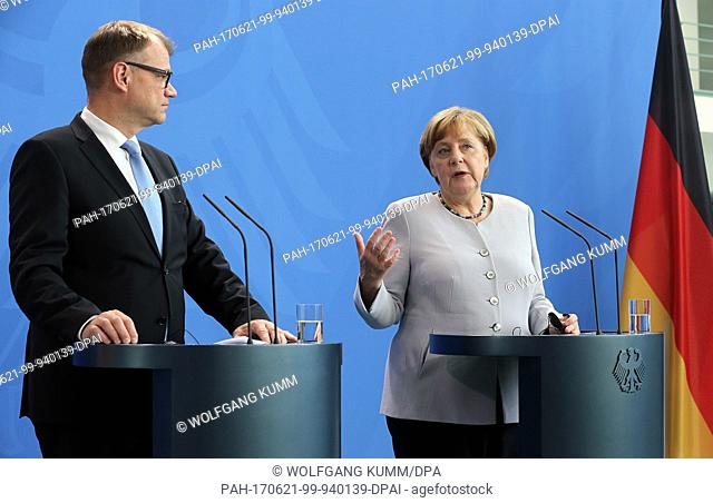 German Chancellor Angela Merkel receives Finnish Prime Minister Juha Sipilä and gives a statement at the Federal Chancellery in Berlin, Germany, 21 June 2017