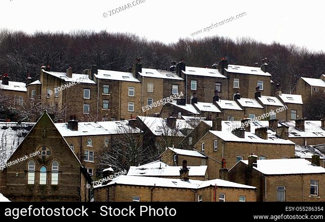 terraced houses covered in snow in hebden bridge west yorkshire