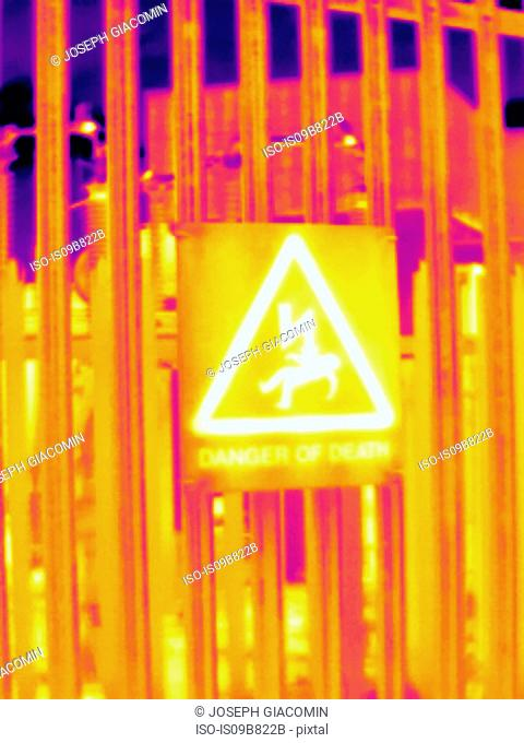 Thermal image of fence and warning sign at West London power station