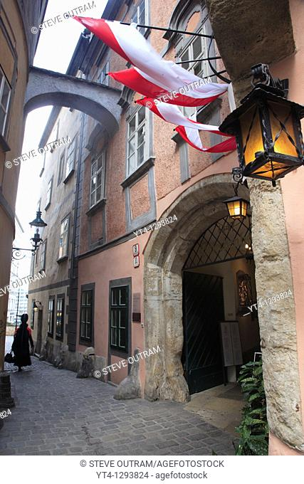 The narrow, 12th Century Griechengasse Street, Vienna, Austria