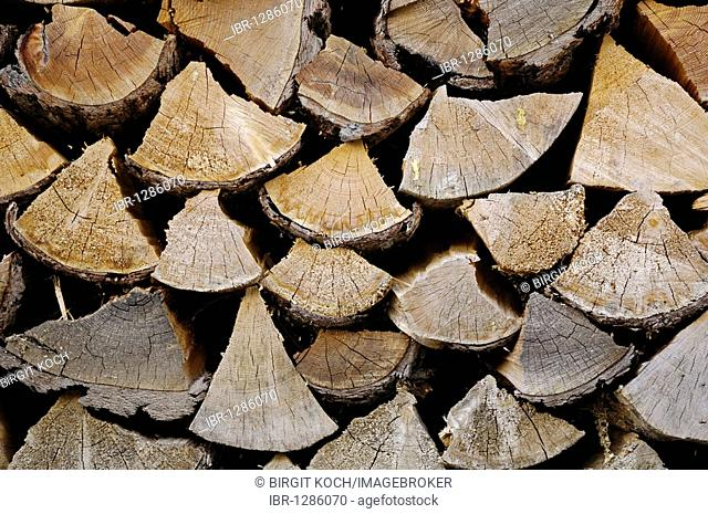 Stacked pile of firewood, detail