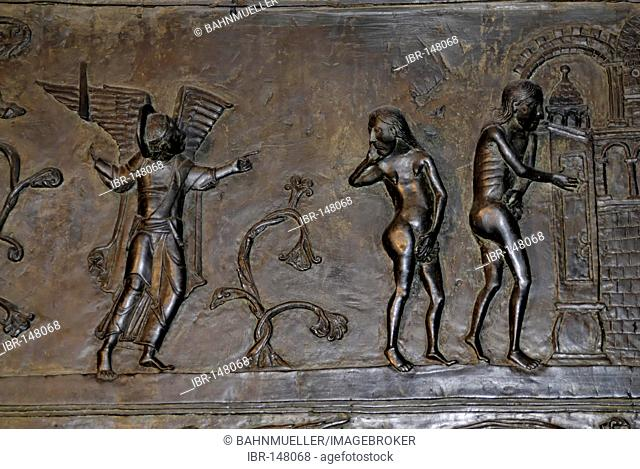 Hildesheim Lower Saxony Germany Dom church bronze doors from 1015 with the history of Adam