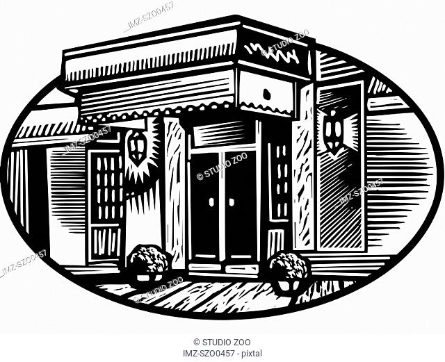 Oval illustration of a hotel entrance, black and white