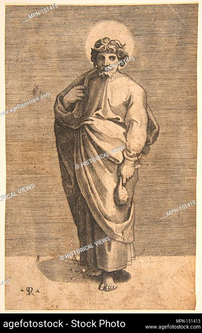 Saint Matthew holding a pouch. Series/Portfolio: Christ and the Apostles; Artist: Marco Dente (Italian, Ravenna, active by 1515-died 1527 Rome); Artist: After...