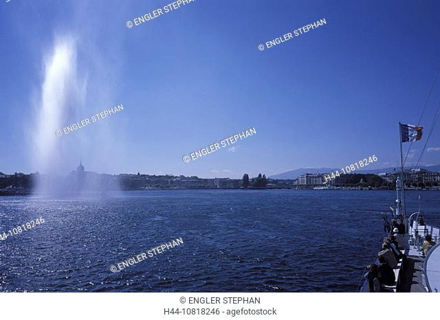 Geneva, town, city, harbor, port, jet, Jet d'Eau, fountain, lake, lake of Geneva, ship, French flag, Switzerland, Euro