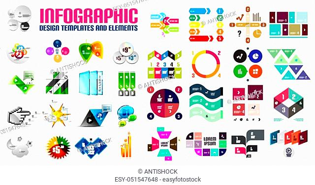Vector colorful geometrical info banners, infographic templates and business presentation layouts