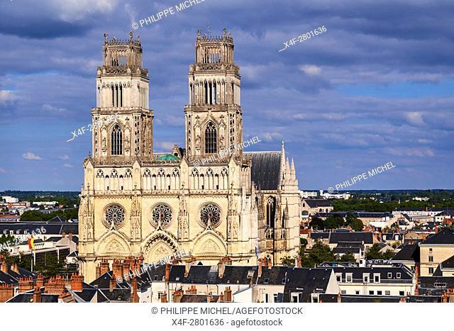 France, Loiret, Orleans, cityscape and Sainte-Croix cathedral