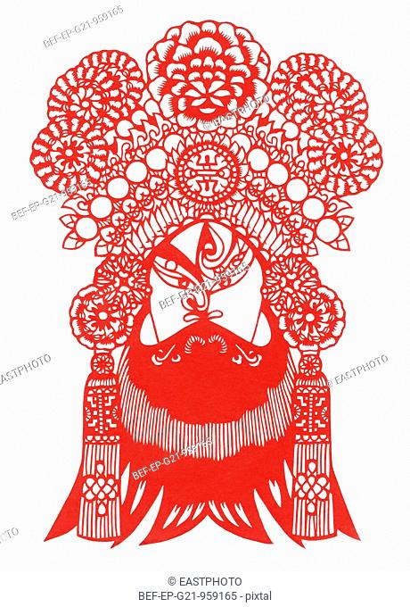 Peking opera paper-cut mask--Zhao Kuangying