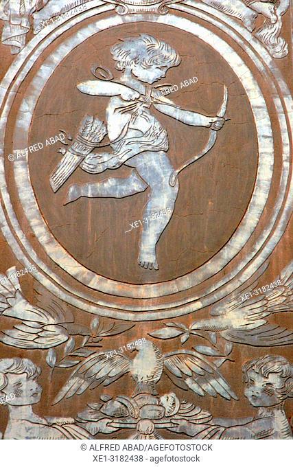 sgrafiato paintings on the wall, Angel Baixeras School, 1918, architect josep Goday, Barcelona, Catalonia, Spain