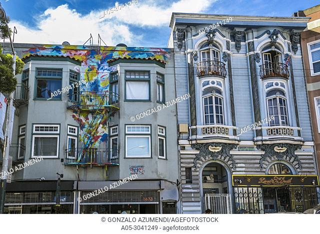 Haight-Ashbury district. The neighborhood is known for being the origin of hippie counterculture. San Francisco. California, USA