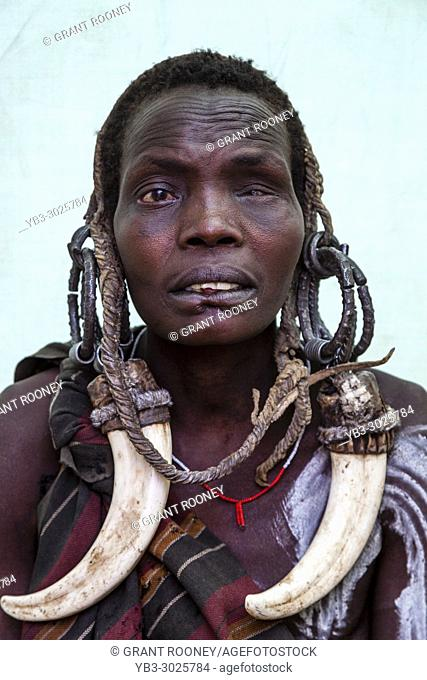 A Portrait Of A Woman From The Mursi Tribe, Mursi Village, Omo Valley, Ethiopia