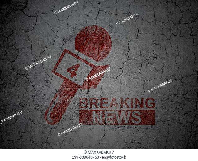 News concept: Red Breaking News And Microphone on grunge textured concrete wall background