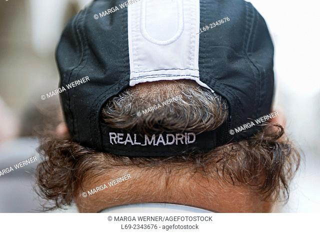 Men's head with a cap from Real Madrid, Spain, Europe