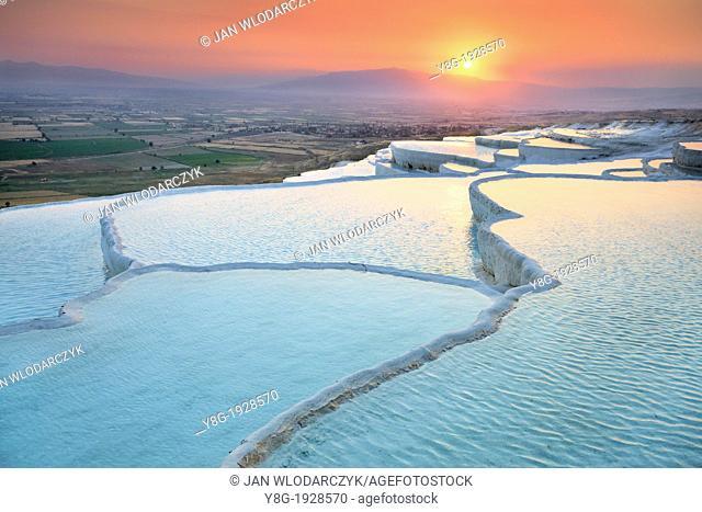 Pamukkale, sunset view of the limestone terraces, Pamukkale near Denizli, Turkey