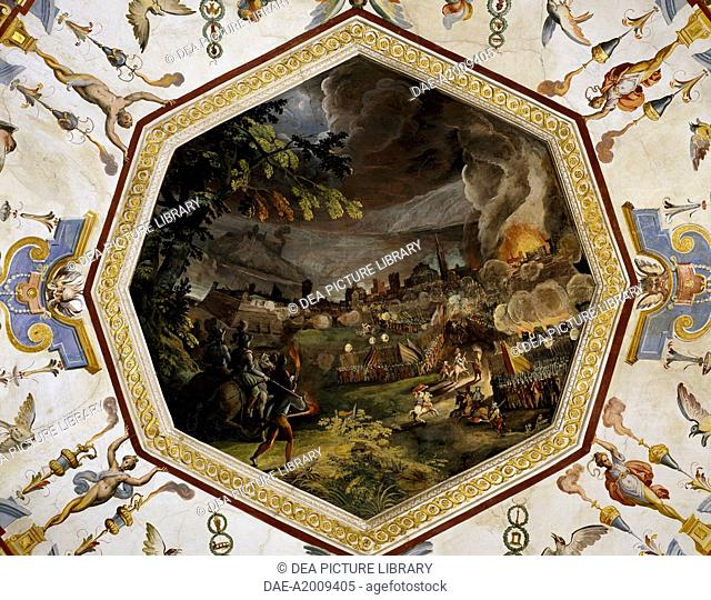 Army deployed during the siege of a city, fresco, by Ludovico Buti (1560-1610). Vault of Room 22, Armory, Uffizi Palace, Florence. Italy, 16th century