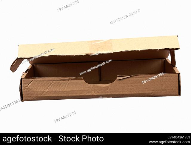 open brown rectangular cardboard box for transporting goods isolated on white background. Packaging design