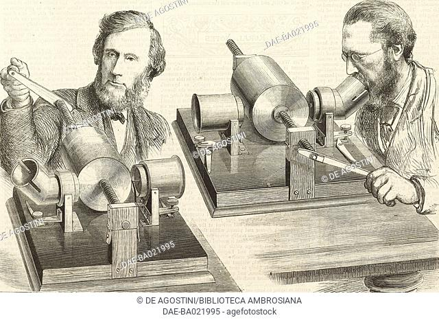 The phonograph speaking to professor John Tyndall, William Henry Preece speaking into the phonograph, illustration from the magazine The Graphic, volume XVII