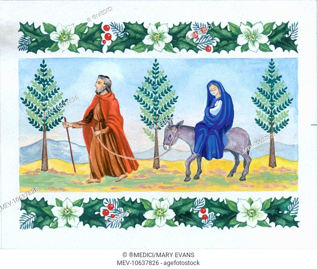 The Flight into Egypt û with border of holly and Christmas roses