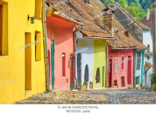 Colorful houses, Sighisoara old town, Transylvania, Romania