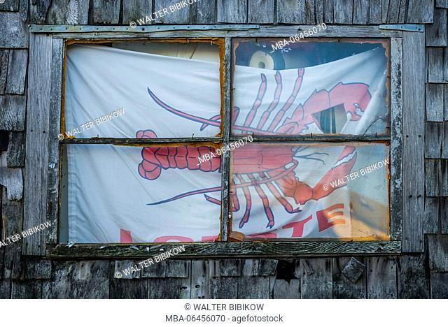 USA, Massachusetts, Cape Ann, Rockport, lobster shack window