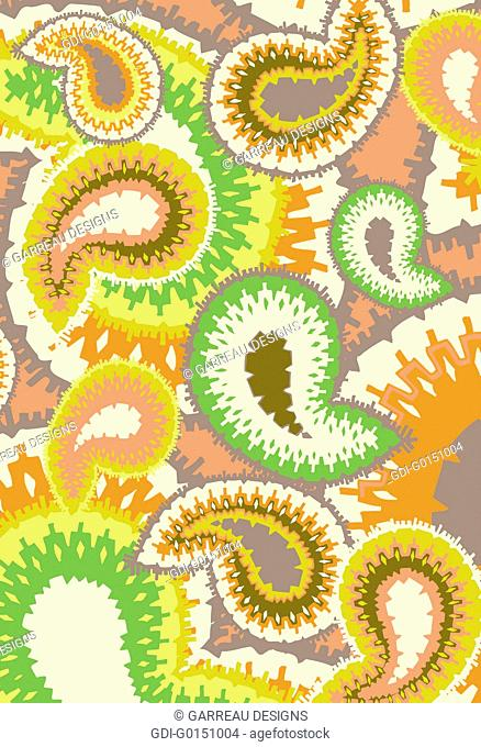 Green orange and brown paisley design