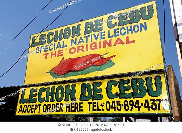 Lechon, roasted pig, promotional sign, Manila, Philippines