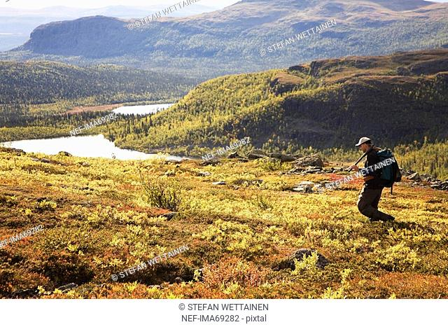 Sportsmen in a mountain scenery, Sweden