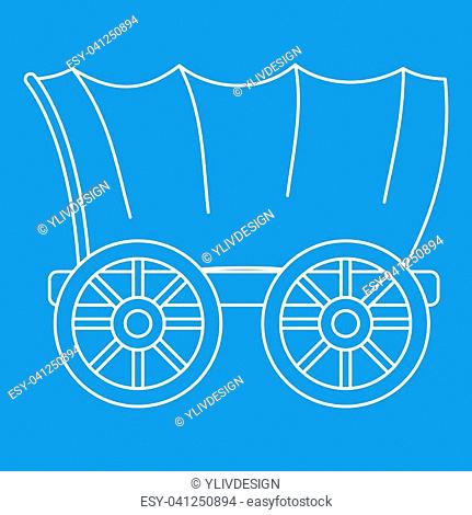 Ancient western covered wagon icon blue outline style isolated illustration. Thin line sign
