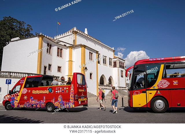 National Palace between tourist buses, Sintra, Portugal
