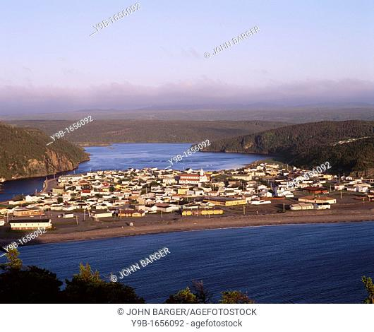Seaside town of Placentia from Castle Hill National Historic Site, Newfoundland, Canada