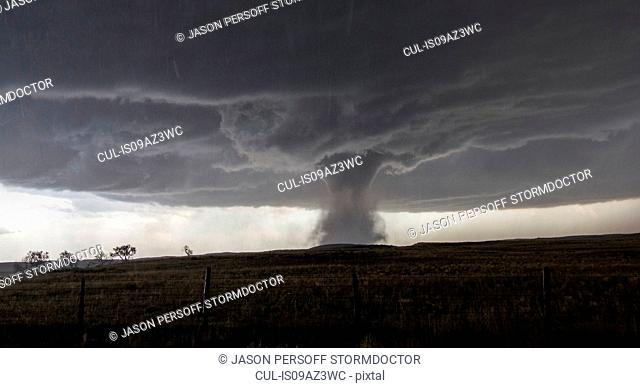 A multivortex tornado rotates over the open plains