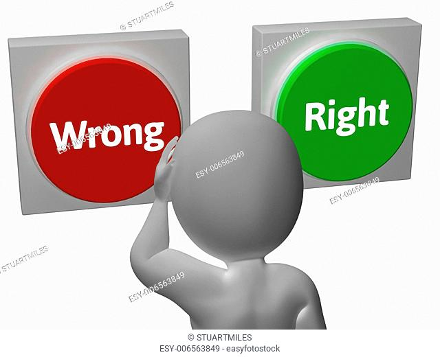 Wrong Right Buttons Showing Truth Or Error