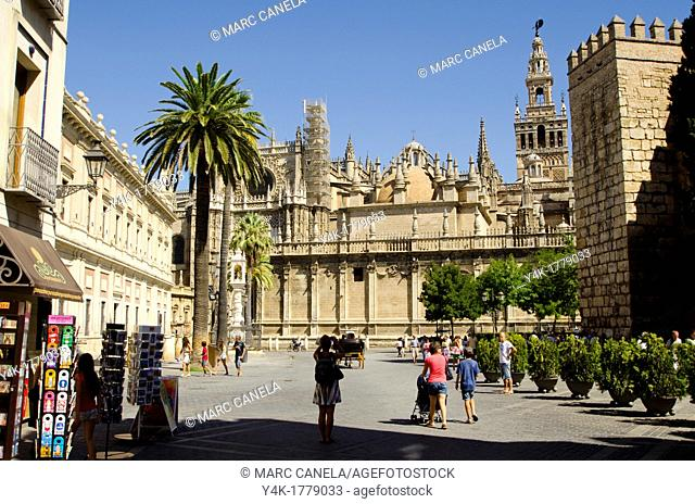 Europe, Spain, Sevilla  The Giralda is the bell tower of the Cathedral of Seville  Its height is 343 feet 105 m feet  Its square base is 23 feet 7 0 m above sea...