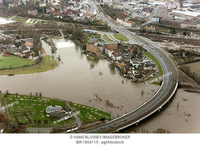 Aerial view, river Ruhr flood, Hattingen, Ruhrgebiet area, North Rhine-Westphalia, Germany, Europe