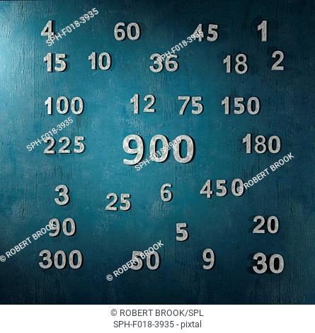 The number 900 and all its factors, computer artwork
