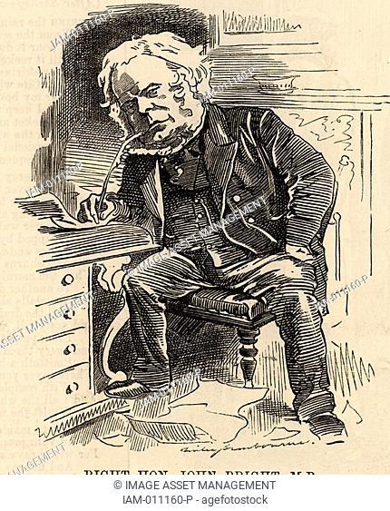 John Bright 1811-1889 English radical statesman, born in Rochdale, Lancashire  Anti-Corn Law League  Reform Act 1867  Cartoon by Edward Linley Sambourne in the...