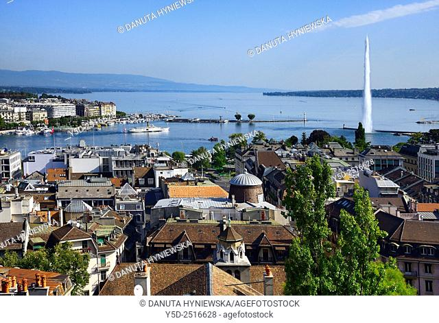 Europe, Switzerland, Geneva, panoramic view for the town, Geneva Lake and famous fountain Jet d'Eau