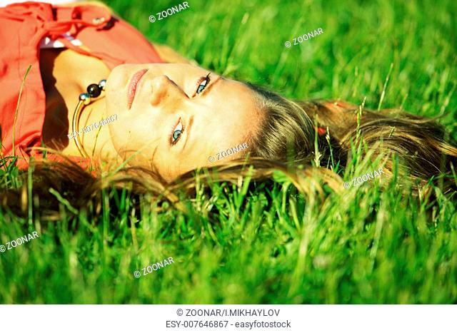 sexy women on green grass