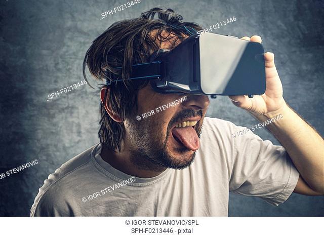 Man watching 3d virtual content