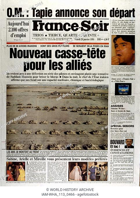 Front Page of the French publication 'France-Soir' reporting the aftermath of the Gulf War29th March, 1991. The Gulf War (2 August 1990 - 28 February 1991)