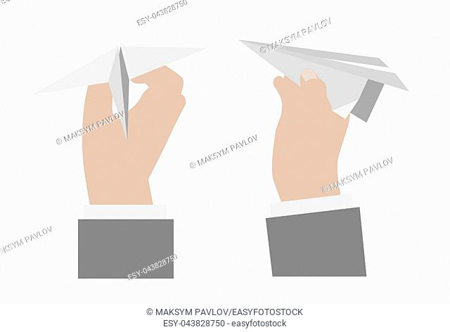 Hand holding a paper airplane. . Vector illustration isolated on white background