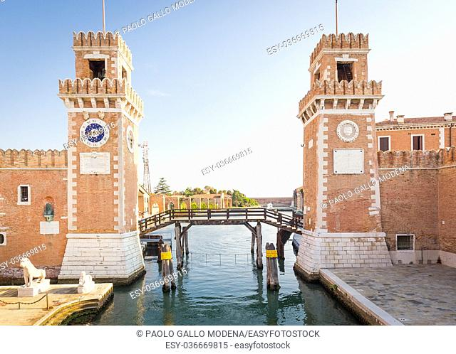 Venice, Italy - Arsenale main entrance with Canal