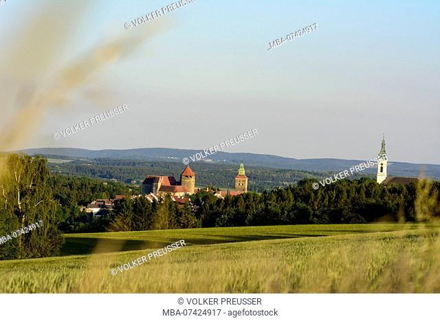 Stadtschlaining, castle, church, fields, Südburgenland, Burgenland, Austria