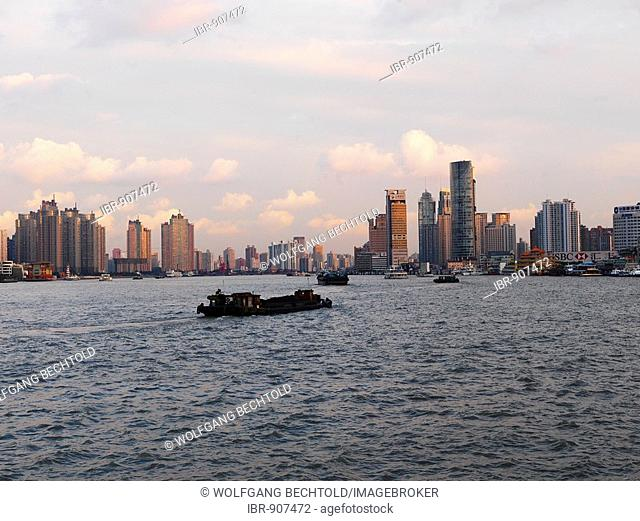 Skyline of Pudong in the evening, Shanghai, China, Asia