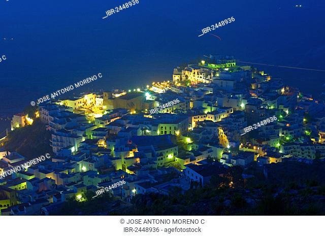 Mojacar, historic town centre at dusk, Almeria province, Andalusia, Spain, Europe