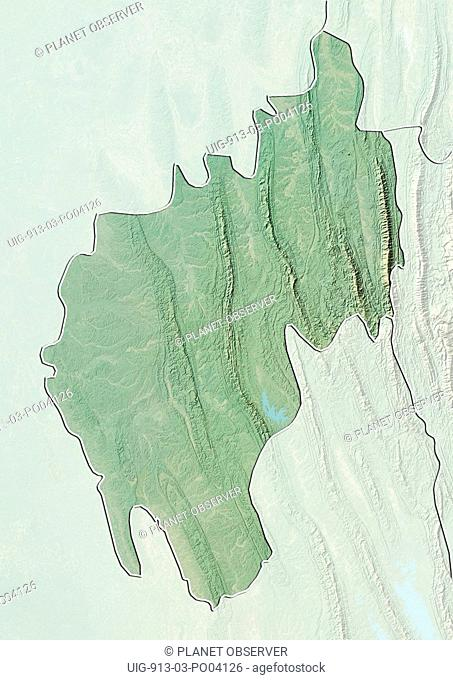 Relief map of the State of Tripura, India. This image was compiled from data acquired by LANDSAT 5 & 7 satellites combined with elevation data