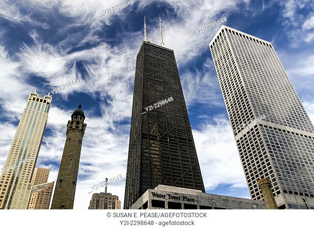 Chicago Water Tower, John Hancock Center, and other skyscrapers in Chicago, Illinois, United States